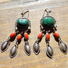 Green Royston Tq, Coral Earrings