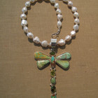Drangonfly pendent manassa turquise on a fresh water pearl necklace