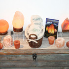 Himalayan salt lamp and votives.