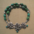 Lost wax casting silver flowers with old 1950's turquise bead necklace